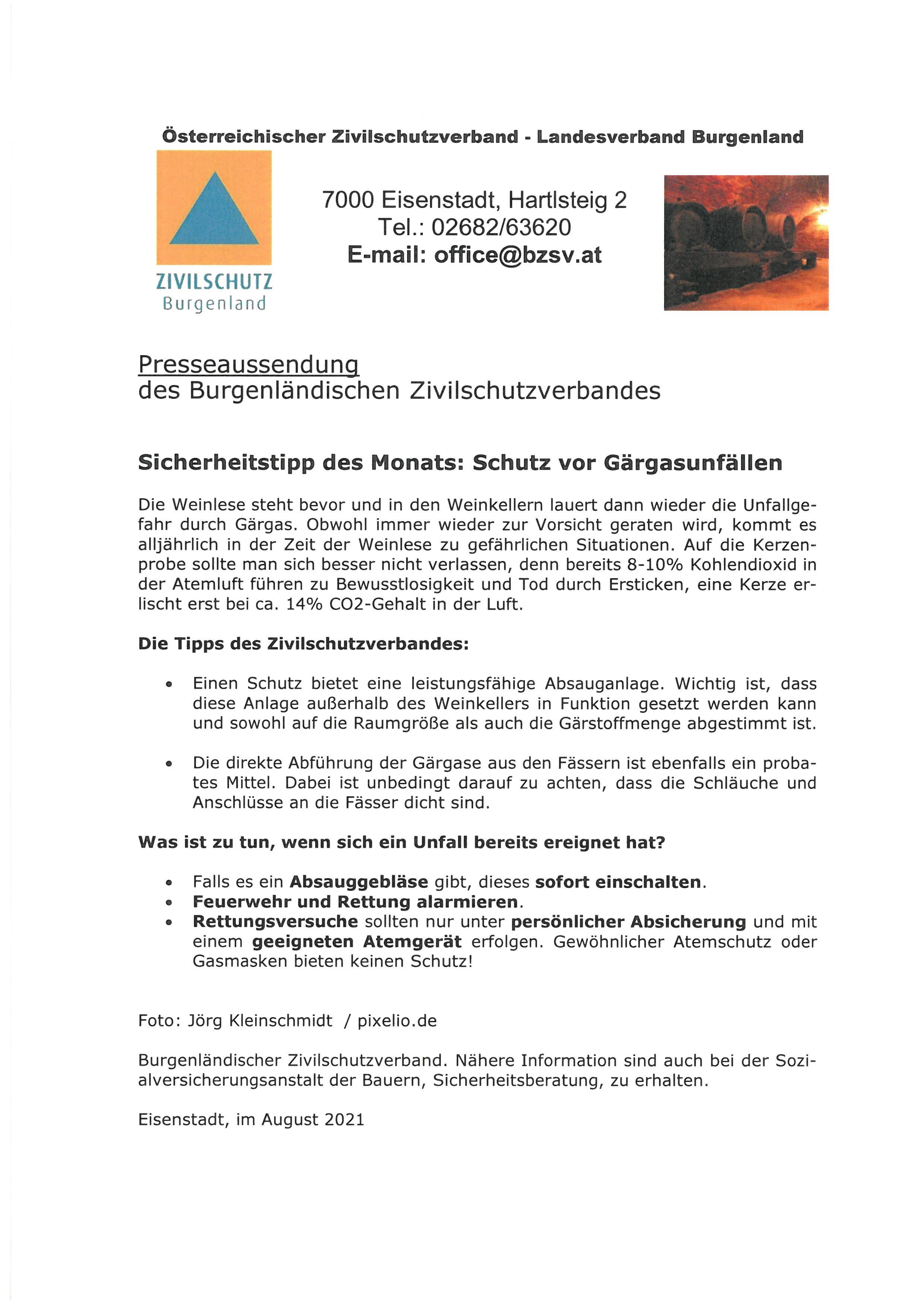 Flyer Schutz vor Gärgasunfällen