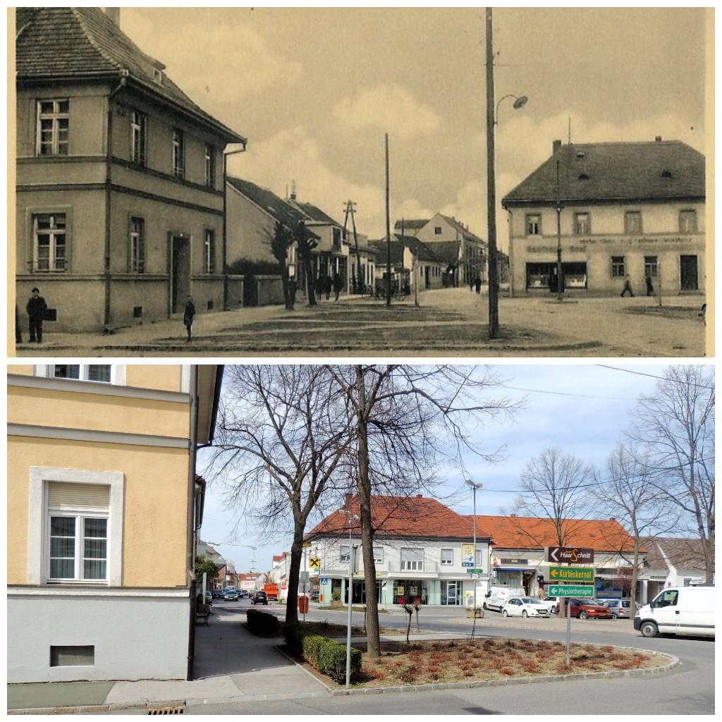 historische und aktuellere Aufnahme vom Hauptplatz